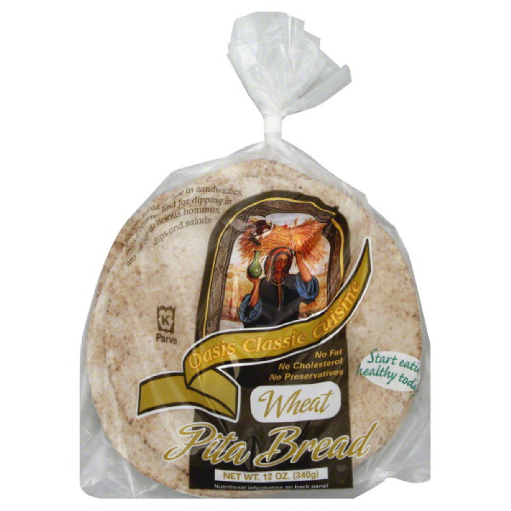 Oasis Wheat Pita Bread, 12 Oz (Pack of 6)