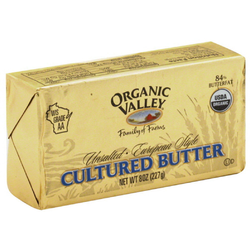 Organic Valley Unsalted European Style Cultured Butter, 8 Oz (Pack of 12)