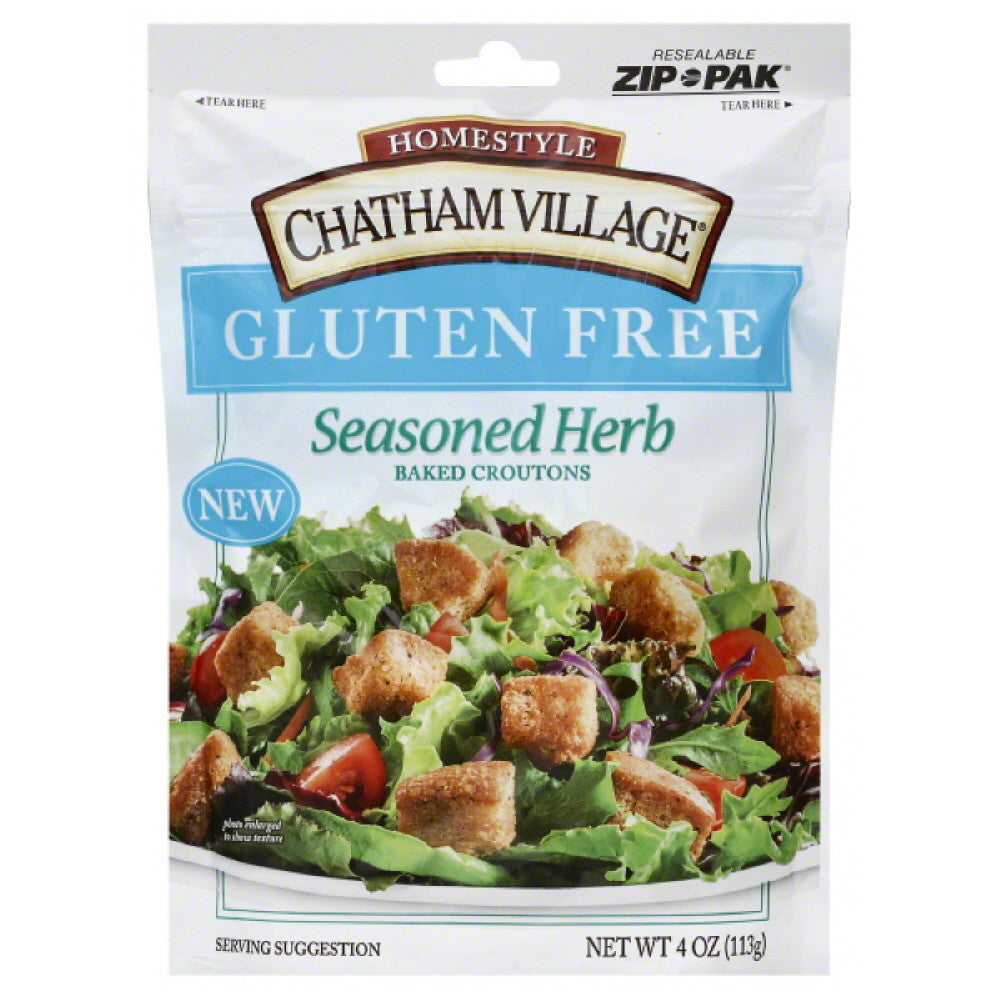 Chatham Village Seasoned Herb Gluten Free Baked Croutons, 4 Oz (Pack of 12)