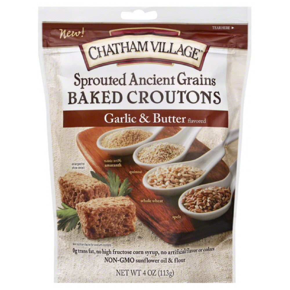Chatham Village Garlic & Butter Baked Croutons, 4 Oz (Pack of 8)
