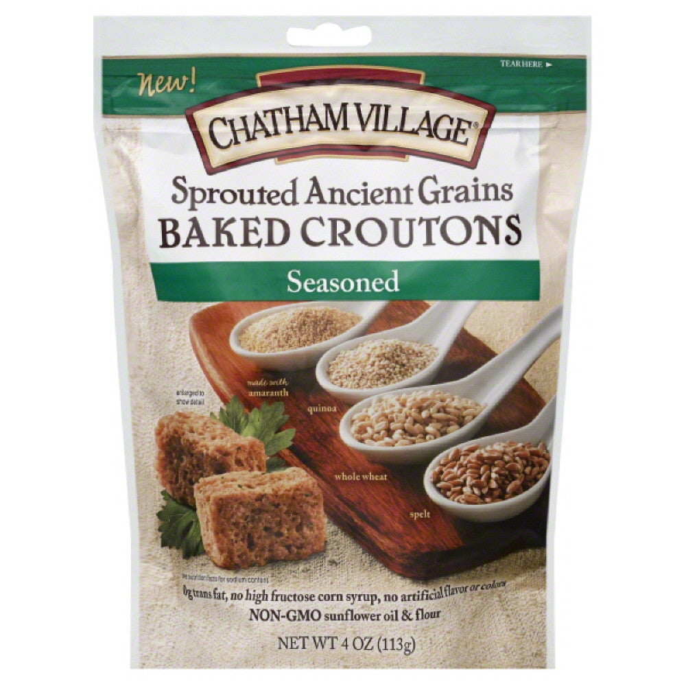 Chatham Village Seasoned Baked Croutons, 4 Oz (Pack of 8)