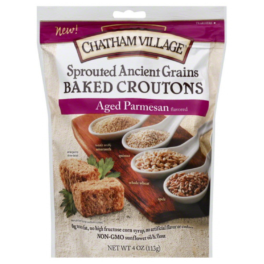 Chatham Village Aged Parmesan Flavored Baked Croutons, 4 Oz (Pack of 8)