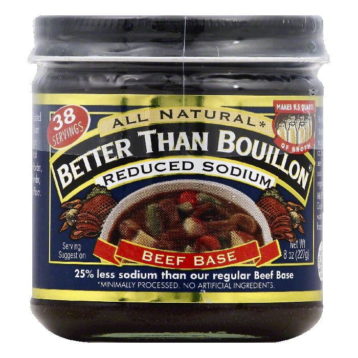 Better Than Bouillon Reduced Sodium Beef Base, 8 OZ (Pack of 6)