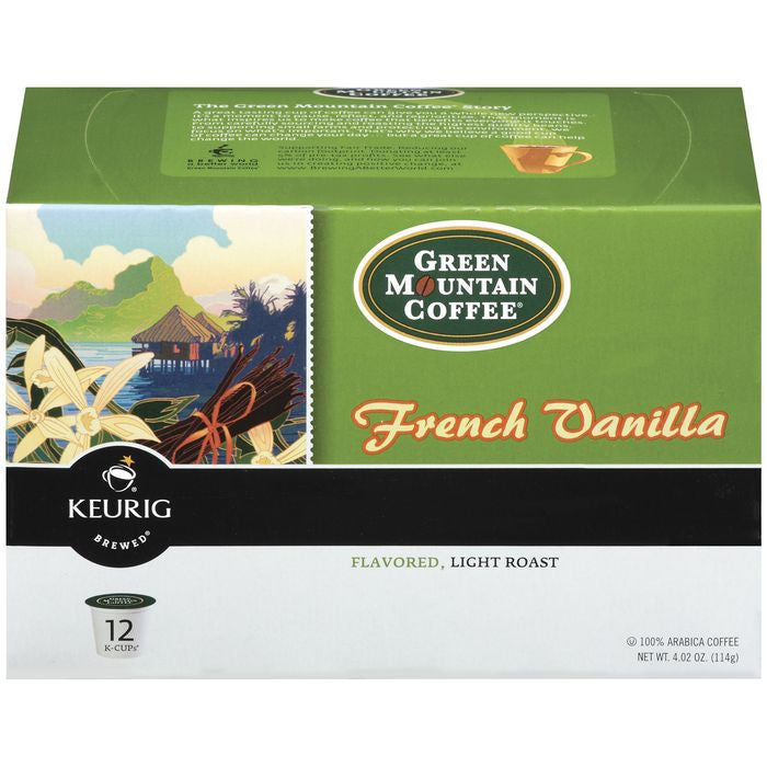 Green Mountain Coffee Roasters French Vanilla Flavored Light Roast 12 Ct K-Cups Coffee 4.02 Oz  (Pack of 6)