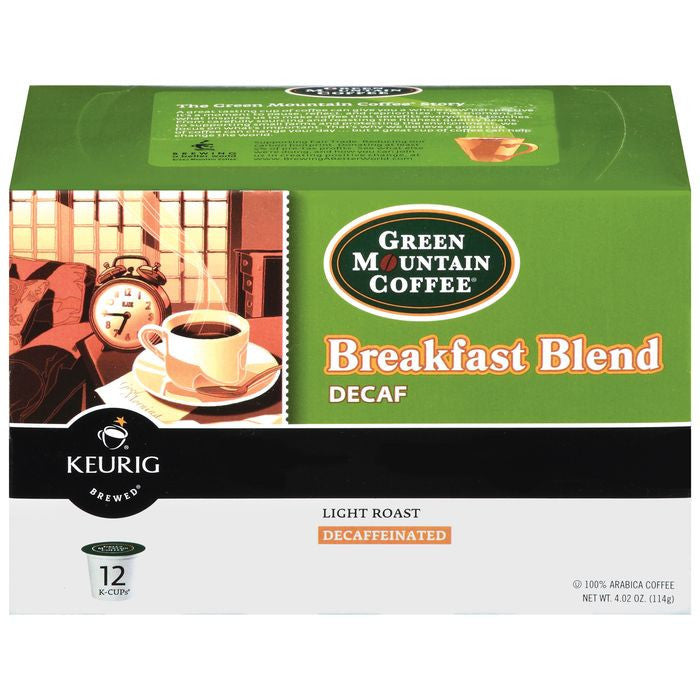 Green Mountain Coffee Roasters Breakfast Blend Decaf 12 Ct K-Cups Coffee 4.02 Oz  (Pack of 6)