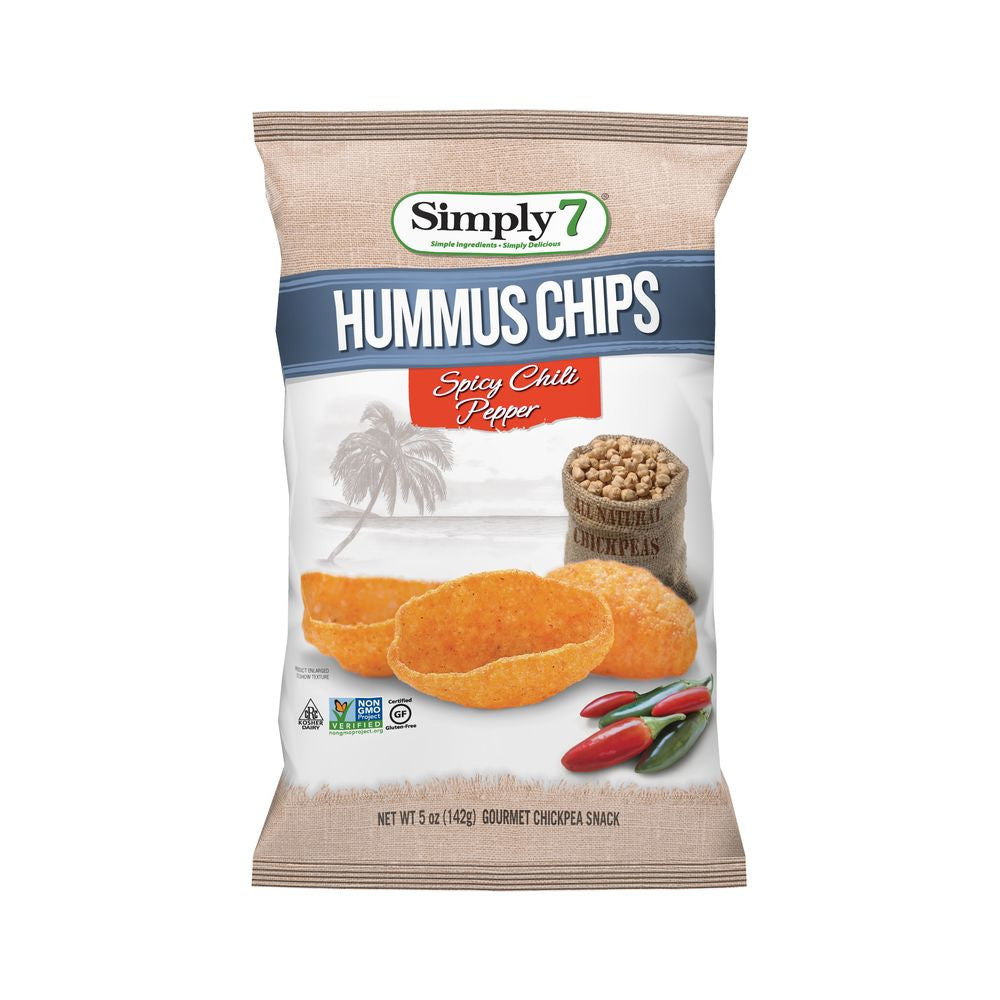 Simply 7 Spicy Chili Pepper Hummus Chip, 5 OZ (Pack of 12)