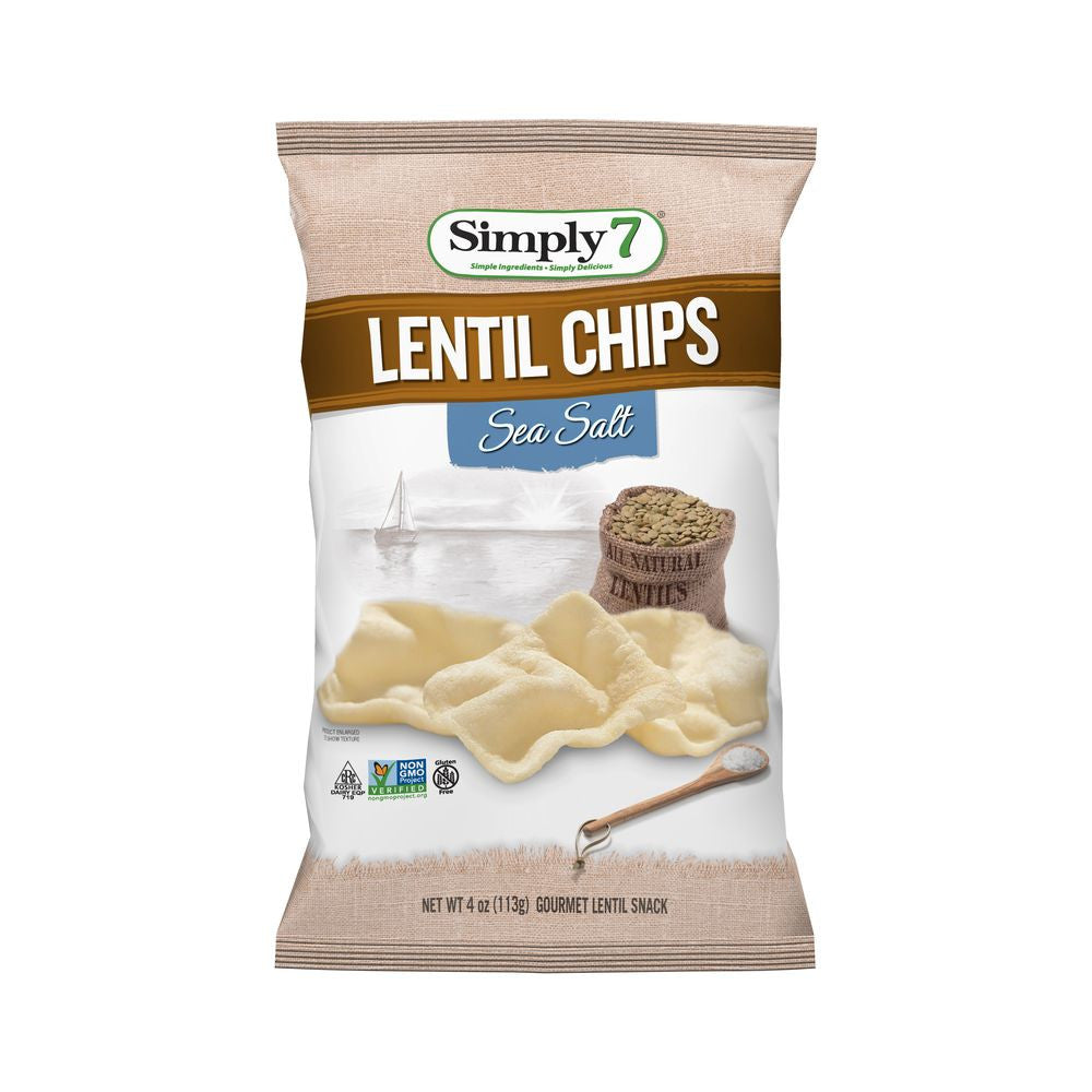 Simply 7 Sea Salt Lentil Chip, 4 OZ (Pack of 12)
