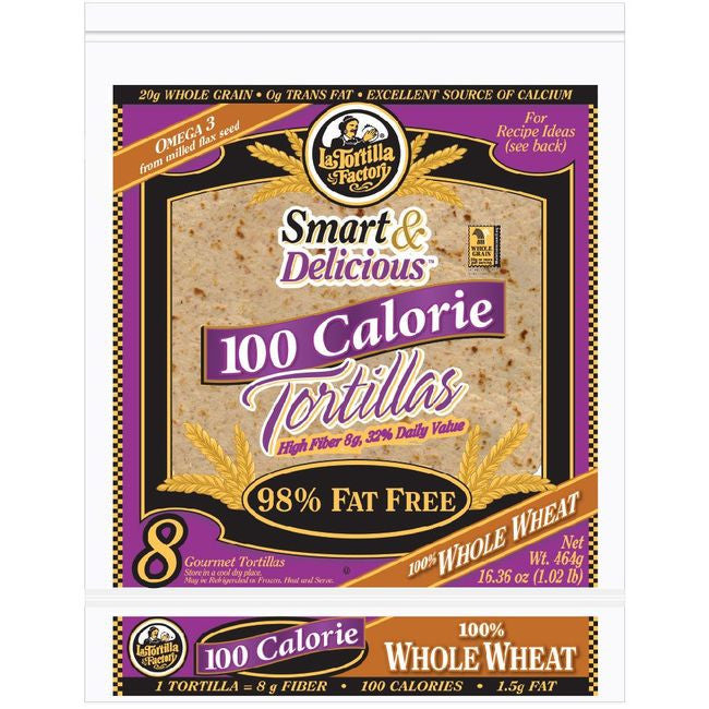 La Tortilla Factory 100 Calorie Tortillas, Whole Wheat, 8 Ea (Pack of 12)