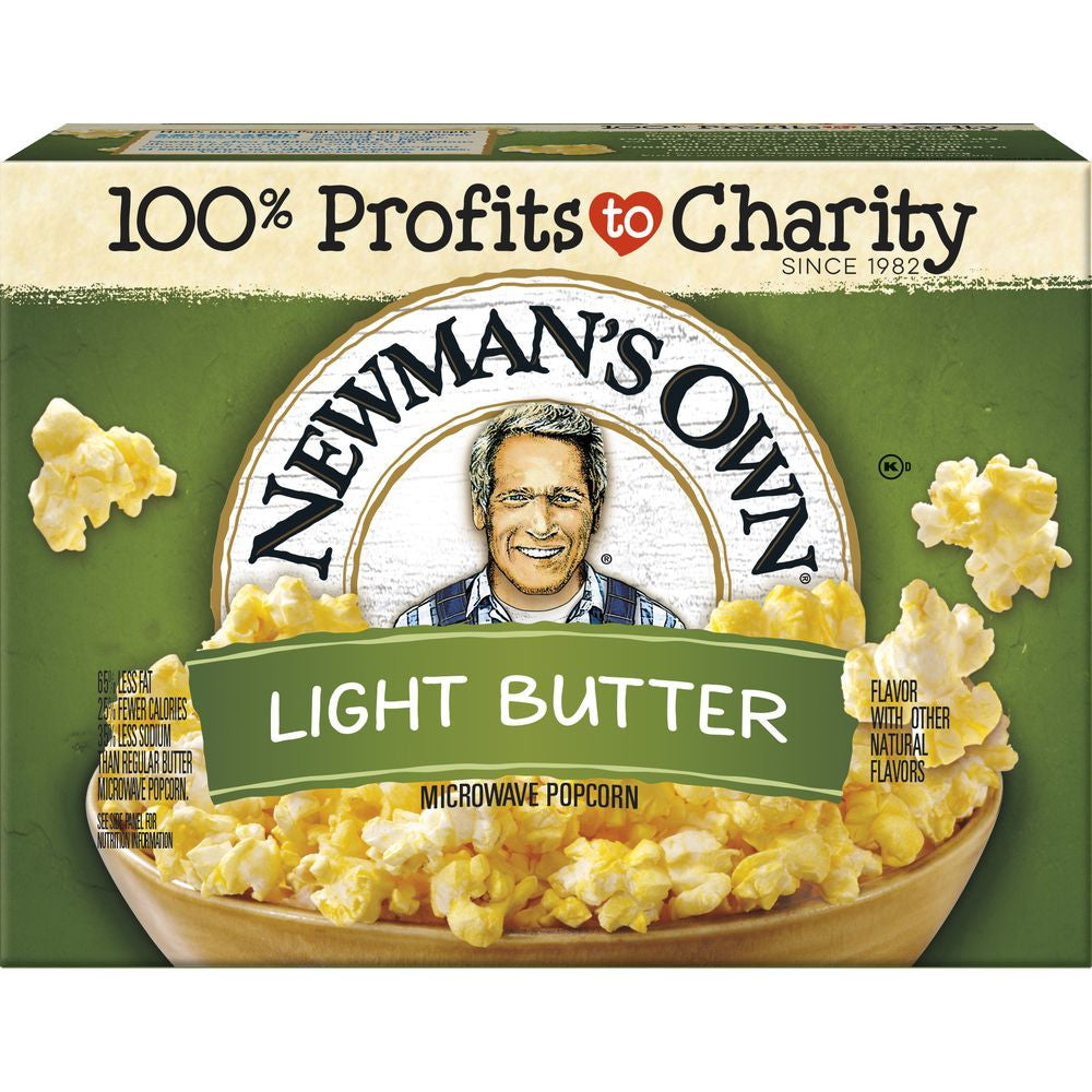 Newmans Own Light Butter Flavor Microwave Popcorn, 3 ea (Pack of 12)