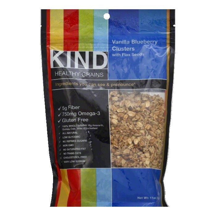 Kind Vanilla Blueberry Clusters with Flax Seeds, 11 OZ (Pack of 6)
