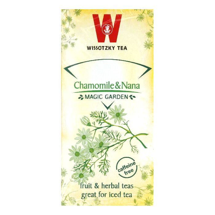 Wissotzky Tea Chamomile & Nana Caffeine Free Magic Garden Fruit & Herbal Tea, 20 BG (Pack of 6)