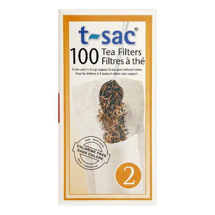 T Sac Size 2 Tea Filters, 100 ea (Pack of 6)