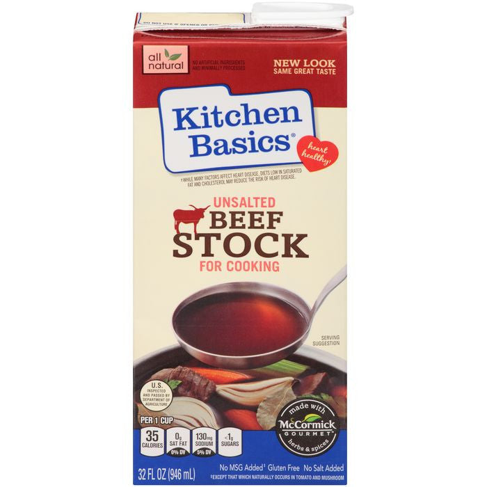 Kitchen Basics Unsalted Beef Cooking Stock 32 fl. Oz Aseptic Carton (Pack of 12)