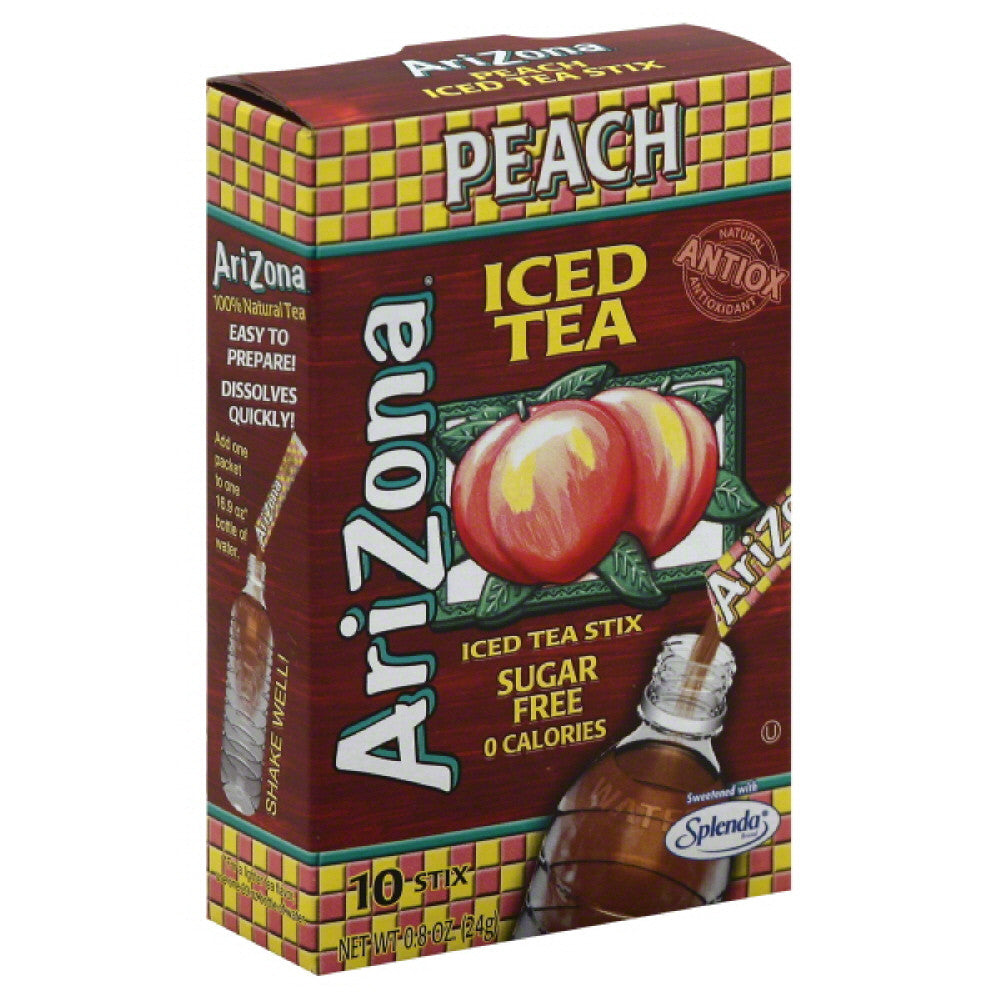 Arizona Peach Sugar Free Stix Iced Tea, 0.8 Oz (Pack of 12)