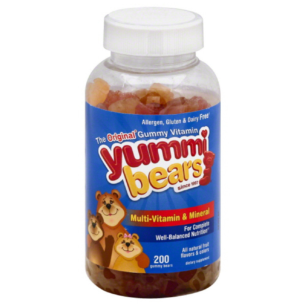 Yummi Bears Fruit Flavors Gummy Bears Multi-Vitamin & Mineral, 200 Pc