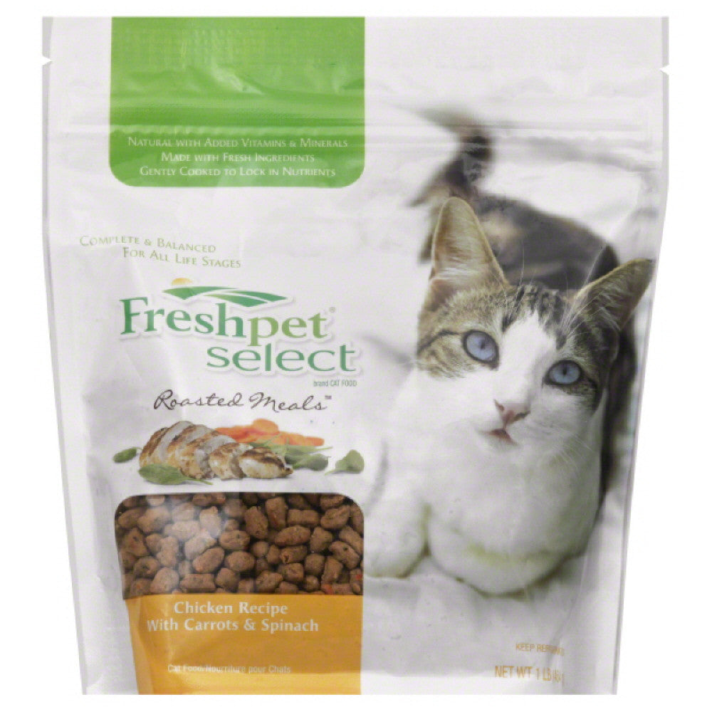 Freshpet Chicken Recipe with Carrots & Spinach Roasted Meals Cat Food, 16 Oz (Pack of 6)