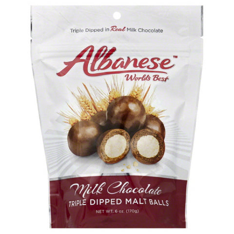 Albanese  Milk Chocolate Triple Dipped Malt Balls, 6 Oz (Pack of 6)