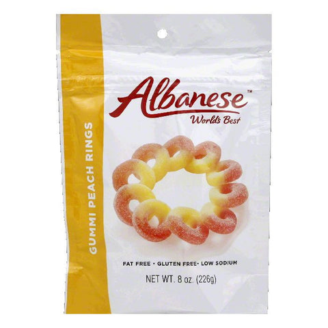 Albanese  Gummi Peach Rings, 8 Oz (Pack of 6)