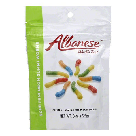 Albanese  Sour Mini  Neon Gummi Worms, 8 Oz (Pack of 6)