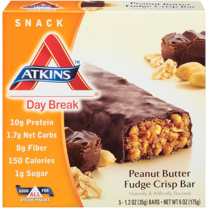 Atkins Day Break Peanut Butter Fudge Crisp Morning Snack Bars 6 Oz  (Pack of 6)