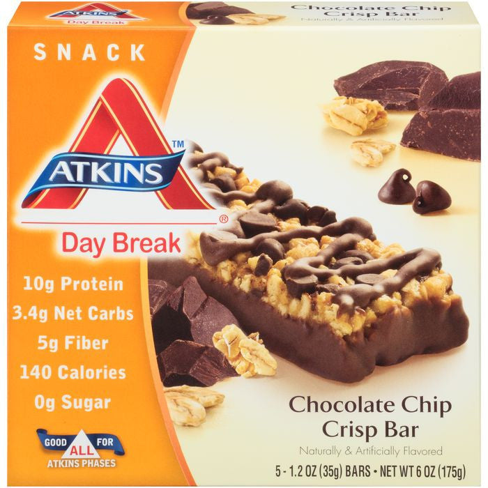 Atkins Day Break Chocolate Chip Crisp Morning Snack Bars 6 Oz  (Pack of 6)