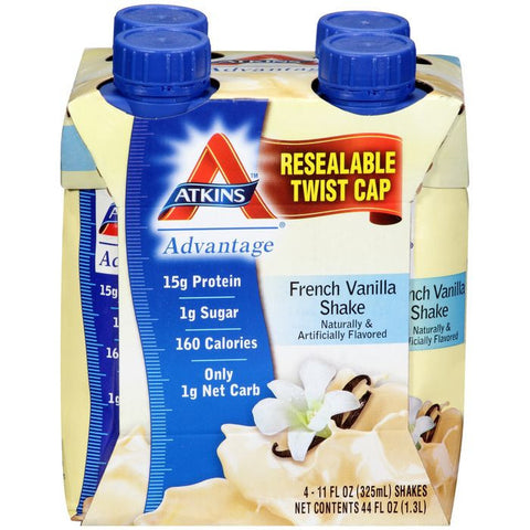 Atkins Advantage French Vanilla Shakes 4-11 fl. Oz Aseptic Cartons (Pack of 6)
