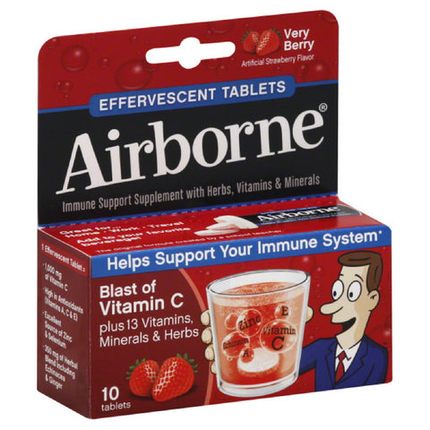 Airborne Very Berry Effervescent Tablets Immune Support Supplement, 10 Tb