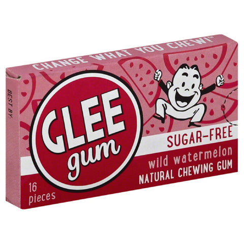 Glee Gum Wild Watermelon Sugar-Free Natural Chewing Gum, 16 Pc (Pack of 12)