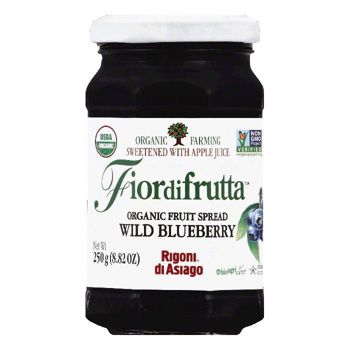 Rigoni Di Asiago Wild Blueberry Organic Fruit Spread, 8.82 OZ (Pack of 6)