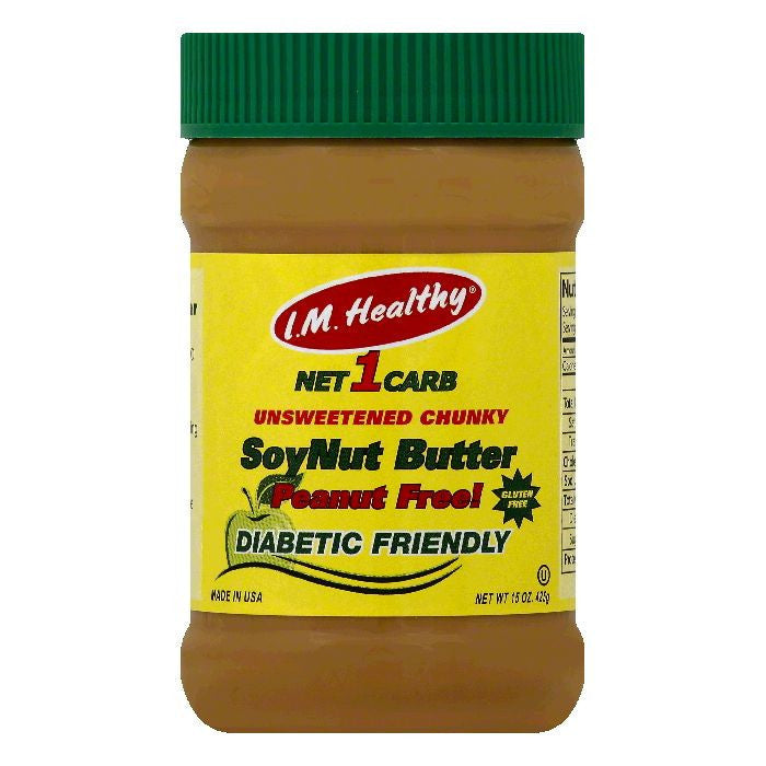 IM Healthy Chunky Unsweetened SoyNut Butter, 15 OZ (Pack of 6)