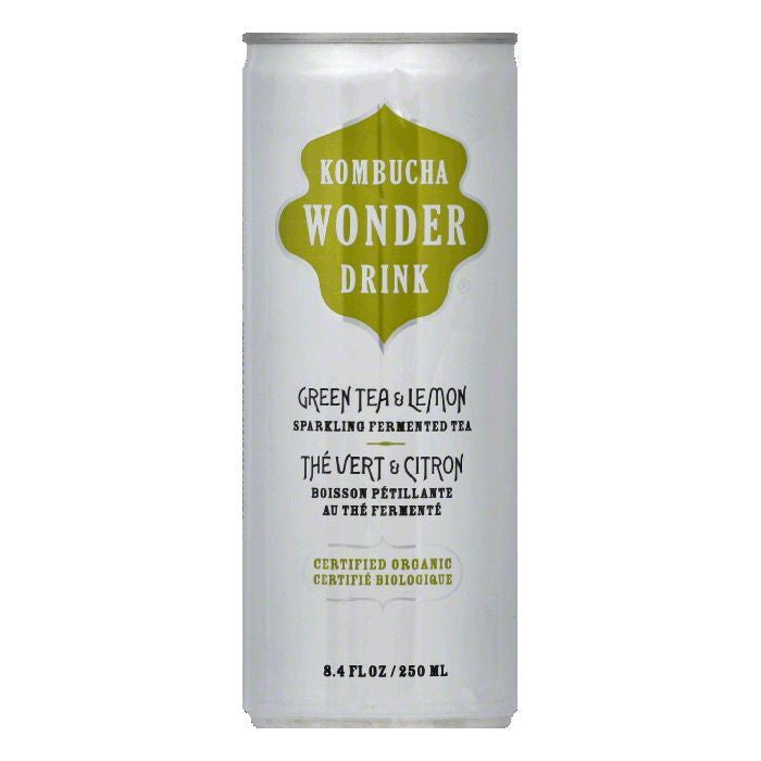 Kombucha Wonder Drink Drink Lemon Green Tea Can, 8.4 FO (Pack of 24)