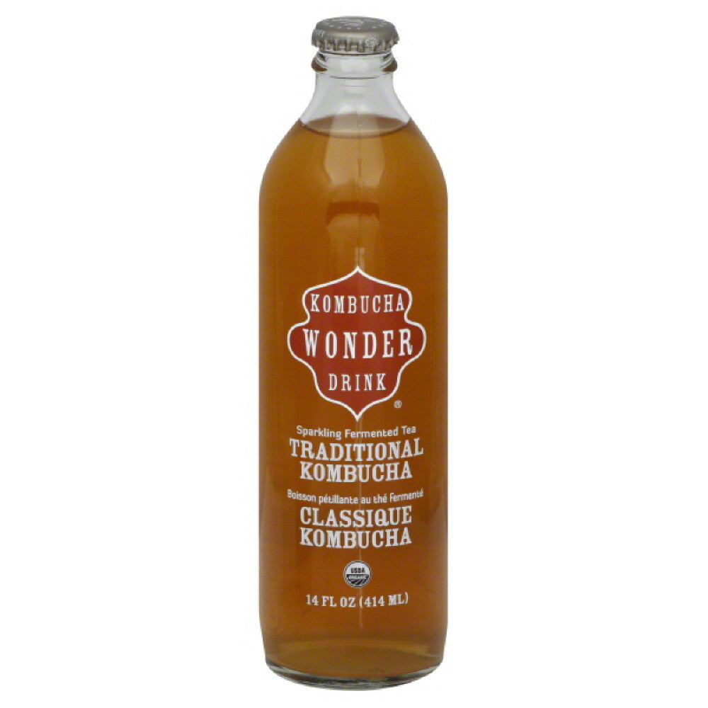 Kombucha Wonder Drink Traditional Kombucha Sparkling Fermented Tea, 14 Oz (Pack of 12)