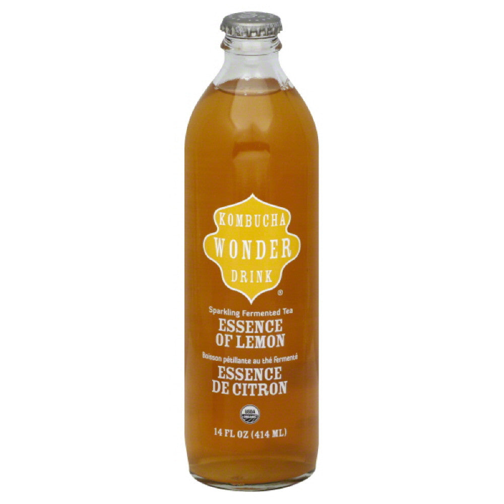 Kombucha Wonder Drink Essence of Lemon Sparkling Fermented Tea, 14 Oz (Pack of 12)