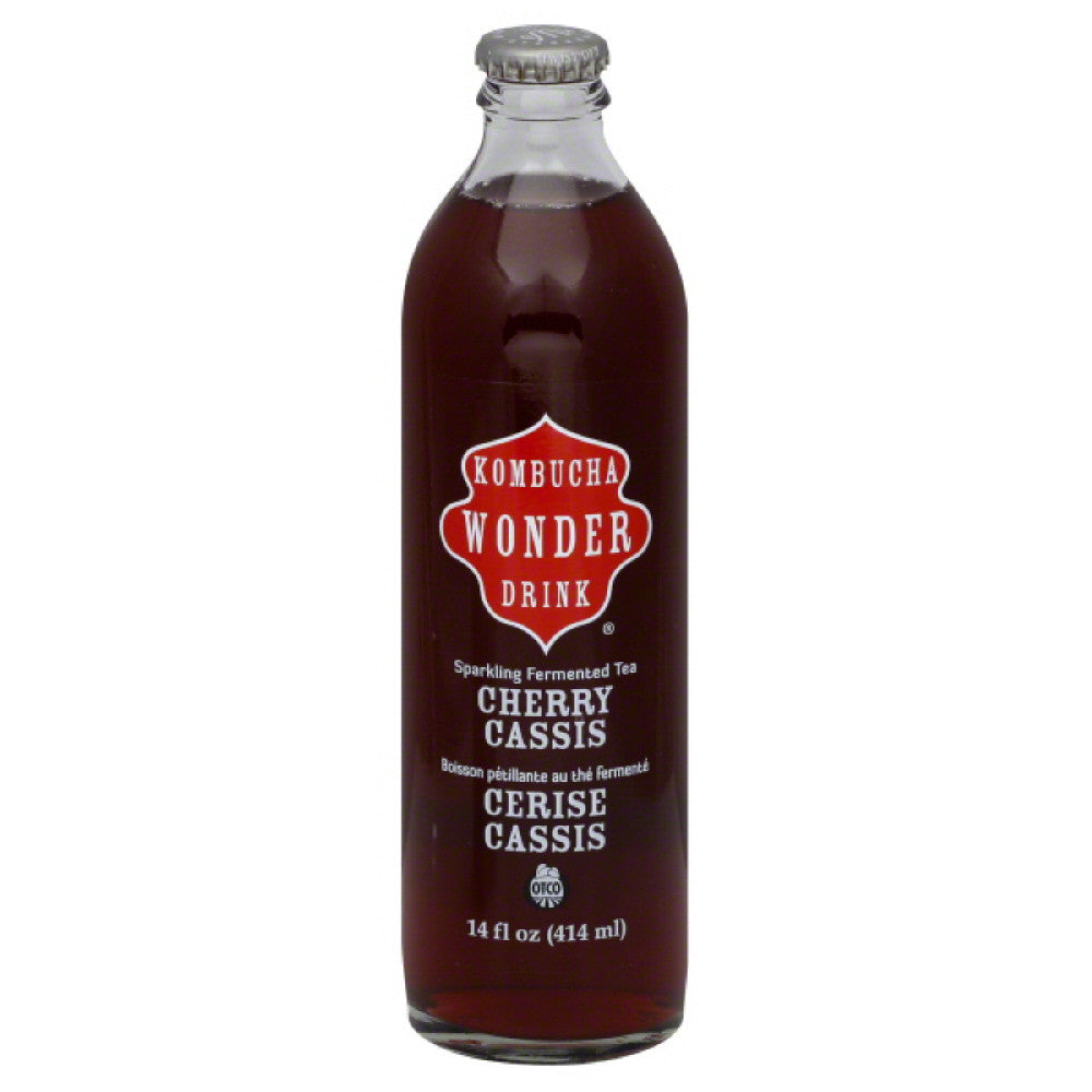Kombucha Wonder Drink Cherry Cassis Sparkling Fermented Tea, 14 Oz (Pack of 12)