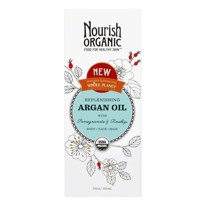 Nourish Organic with Pomegranate & Rosehip Replenishing Argan Oil, 3.4 Oz