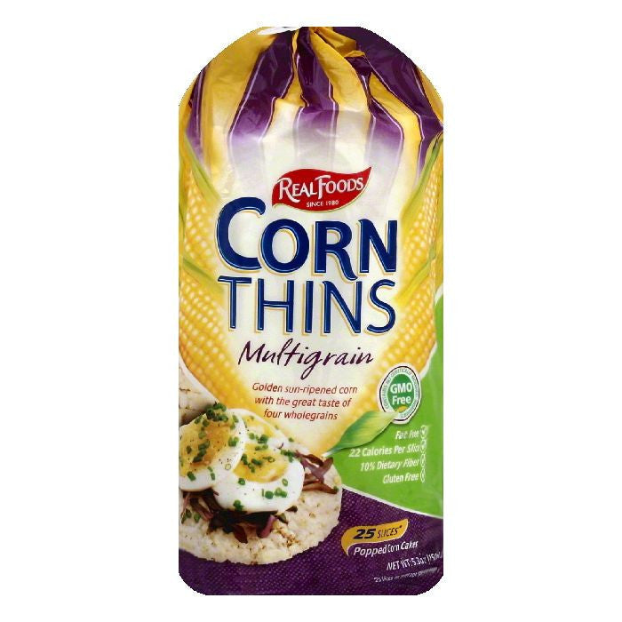 Real Foods Multigrain Corn Thins, 25 ea (Pack of 6)