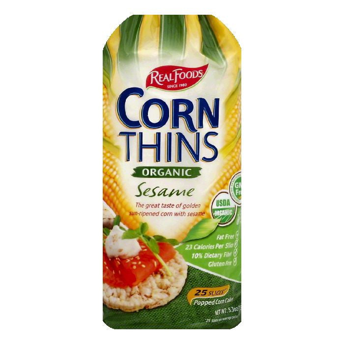 Real Foods Sesame Organic Corn Thins, 25 ea (Pack of 6)
