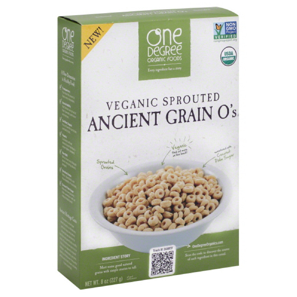 One Degree Organic Foods Organic Ancient Grain O's Veganic Sprouted Cereal, 8 Oz (Pack of 6)
