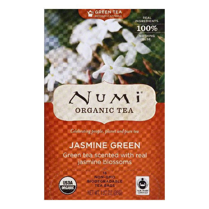 Numi Bags Jasmine Green Organic Green Tea, 18 ea (Pack of 6)