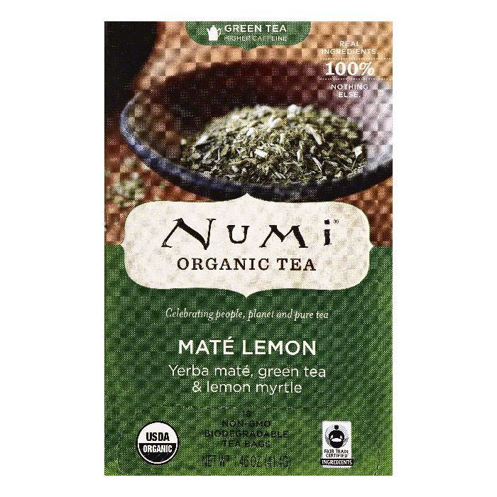 Numi Bags Mate Lemon Green Tea, 18 ea (Pack of 6)