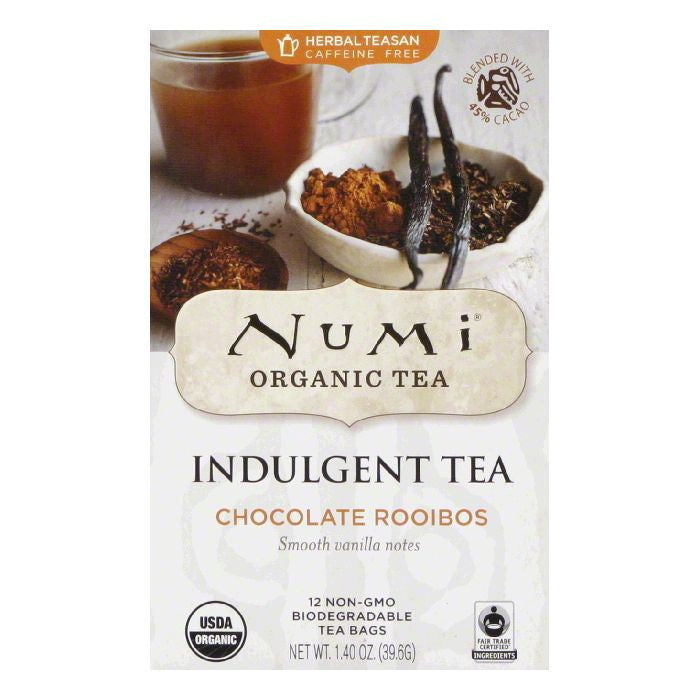 Numi Bags Caffeine Free Chocolate Rooibos Organic Tea, 12 ea (Pack of 6)