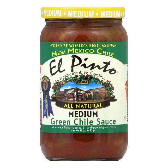 El Pinto Green Chile Sauce Medium, 16 OZ (Pack of 6)