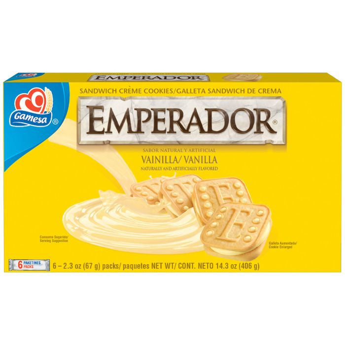 Gamesa Emperador Vanilla Sandwich Creme Cookies 406g  (Pack of 12)