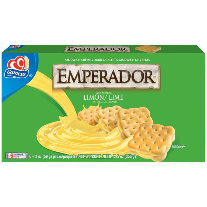 Gamesa Sandwich Creme Cookies Lime Flavored Emperador Piruetas 12.55 Oz  (Pack of 12)