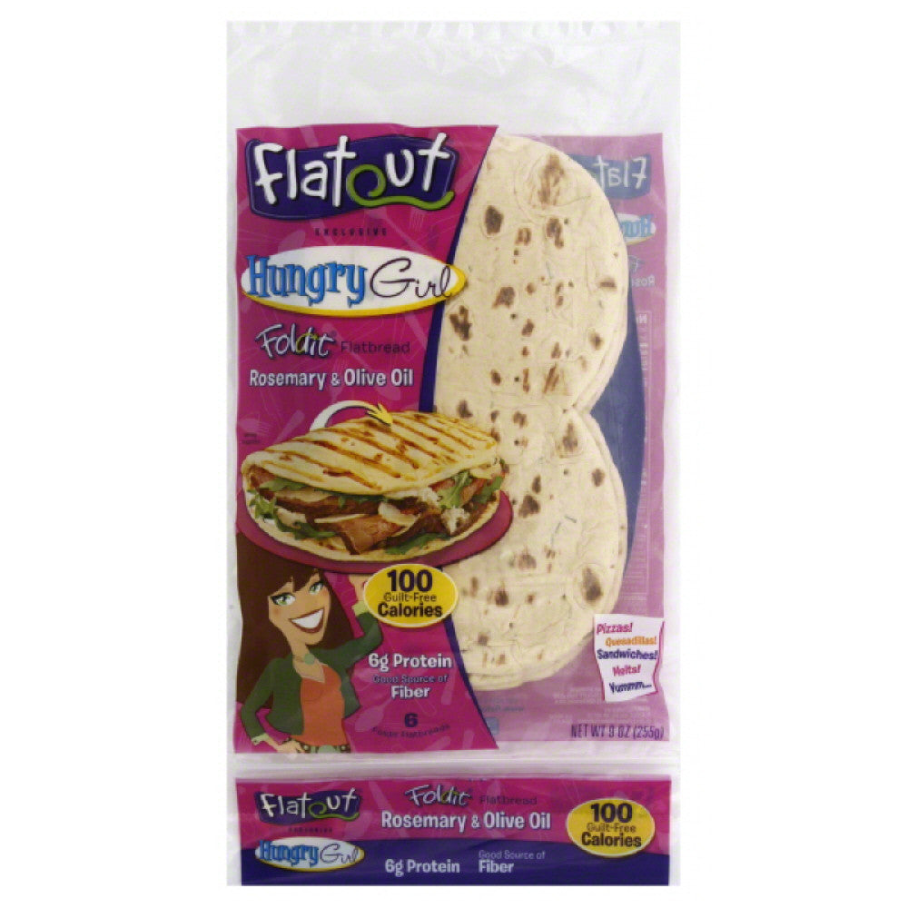 Flatout Rosemary & Olive Oil Flatbread, 9 Oz (Pack of 12)