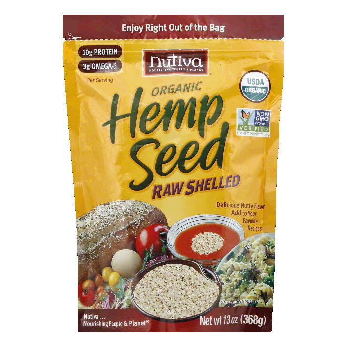 Nutiva Raw Shelled Organic Hemp Seed, 13 OZ (Pack of 6)