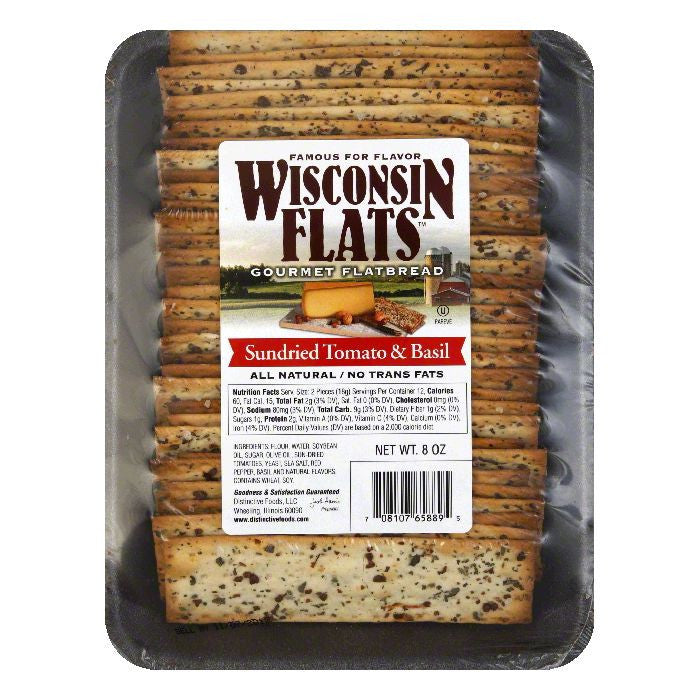 Wisconsin Flats Sundried Tomato Basil Flatbread, 8 OZ (Pack of 10)