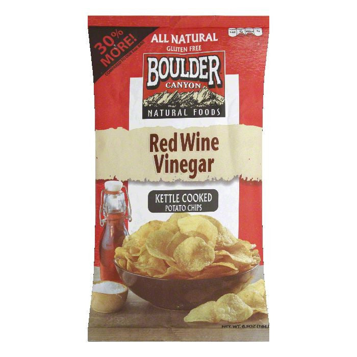 Boulder Canyon Red Wine Vinegar Kettle Cooked Potato Chips, 6.5 Oz (Pack of 12)