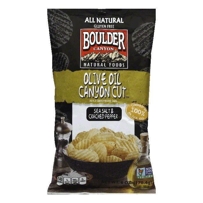 Boulder Canyon Olive Oil Canyon Cut Sea Salt & Cracked Pepper Kettle Cooked Potato Chips, 6 Oz (Pack of 12)