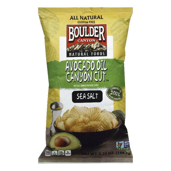 Boulder Canyon Avocado Oil Canyon Cut Sea Salt Kettle Cooked Potato Chips, 5.25 Oz (Pack of 12)